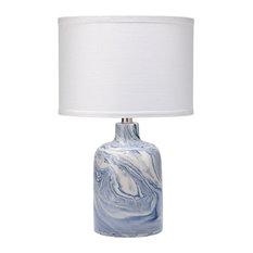 Atmosphere Table Lamp, Blue/White Ceramic Swirl, Small Drum Shade, White Linen