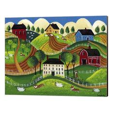 """Corgi Country"" Canvas Wall Art by Cheryl Bartley, 16""x13"""