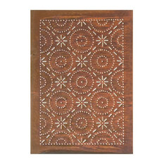 USA Handcrafted - Four Handcrafted Punched Tin Cabinet Panels Old Mill Quilted Pattern, Rustic Tin - Kitchen Cabinetry