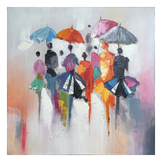 """MOD - """"Rain in Memory"""" Oil on Canvas Wall Art, 24""""x24"""" - Paintings"""