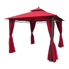 Pemberly Row - Pemberly Row Square Gazebo With Drapes, Ruby Red - Gazebos