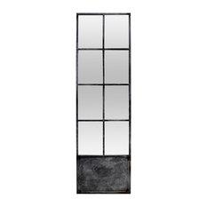 Window Pane Door Mirror with Dark Grey/Black Metal Frame, 60x200 cm