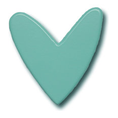 Modern Heart Wooden Drawer Pull, Aqua