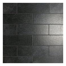 "Piston Camp Canvas 4""x12"" Ceramic Subway Tile, Black, Black Canvas"