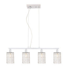 "Elegant Lighting LD7502 Taylor 4 Light 31""W Crystal Linear - Chrome"