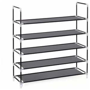 Free Standing Shoes Rack, Stainless Steel With Shelves, Black