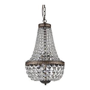 6-Light Antique Bronze Empire Crystal Chandelier Glam Lighting