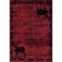 """United Weavers Woodside Deer Gaze Red Area Rug, 7'10""""x10'6"""""""