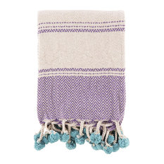 Lilac Cotton Throw With Blue Pompoms