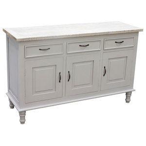 Cottonwood Sideboard With 3 Drawers and 3 Doors, French Gray