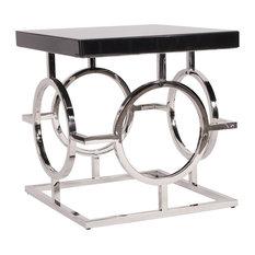 Howard Elliott Stainless Steel End Table With Black Top
