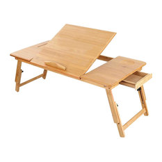Traditional Laptop Stand, Natural Bamboo Wood With Adjustable Tabletop Angle