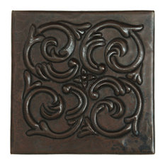 "Swirl Medallion Design Hammered Copper Tile, 10""x10"""