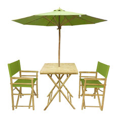 Set of Bamboo Square Table, 2 Director Chair, 1 Umbrealla, Green