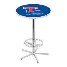 L216 - 42-inch Chrome Louisiana Tech Pub Table By Holland Bar Stool Co.
