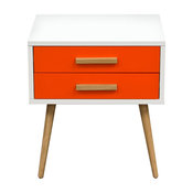 Tangent 2-Drawer Accent Table With White Top, Orange Drawers and Oak Legs