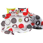 Silver Fern Decor - Modern Red And Lime Green Circle Pattern Queen Sheet Set  , King - You won't have to sacrifice color for quality with this 100% cotton, 820 thread count sheet set. Combining eye-popping circles of red, black, white and apple green, this set will liven up a room and bring some major fun to bedtime. You will be able to enjoy the artistic liveliness of a bed decked out in artistic red.