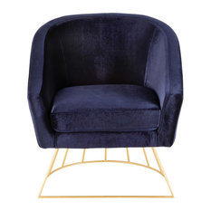 LumiSource - Canary Contemporary-Glam Tub Chair, Gold Metal and Royal Blue Velvet - Armchairs and Accent Chairs