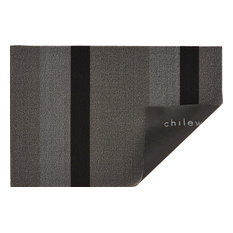 "Bold Stripe Shag Mat, Silver and Black, 24""x36"""