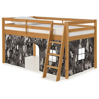 Roxy Junior Loft Cinnamon Twin Bed, Gray and White Camouflage Playhouse Tent