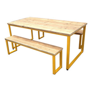 3-Piece Reclaimed Wood Dining Table Set, Yellow, Large