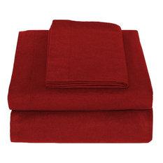 Heavyweight 100% Cotton Flannel Sheet Set Twin XL, Red