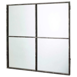 Window Pane Wall Mirror with Distressed Black Metal Frame, 80x80 cm