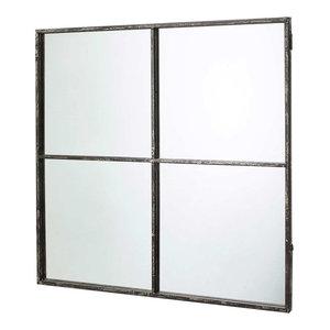 Window Pane Wall Mirror with Distressed Black Metal Frame, 80x80 cm