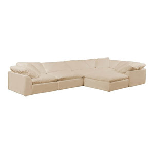 6-Pc Slipcovered Modular L Shaped Sectional Sofa with Ottoman | Performance Fabr