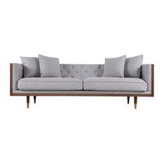 Kardiel Woodrow Neo Classic Midcentury Modern Sofa, Bayview Silver Seat, Walnut