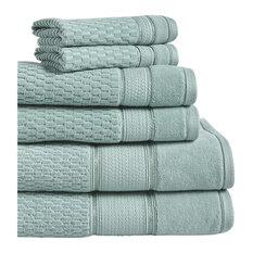 LINTEX LINENS INC - Royale 6-Piece 100% Turkish Cotton Bath Towel Set, Spa Blue - Bath Towels