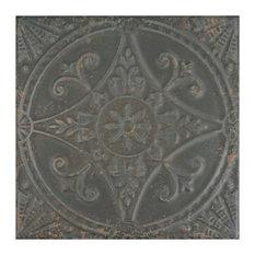 "Bay - 13""x13"" Santander Ceramic Floor/Wall Tiles, Set of 10, Charcoal - Wall and Floor Tile"