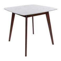 "Senna 31"" Square White Italian Carrara Marble Dining Table With Walnut Legs"