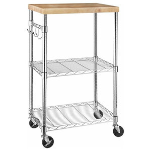Modern Serving Trolley Cart, Stainless Steel Frame and Removable Wooden Top