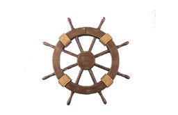 Rustic Wood Finish Decorative Ship Wheel, 18''