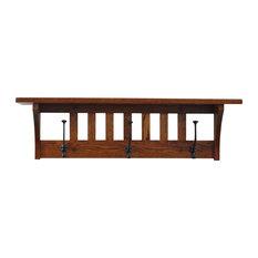 "Mission Coat Rack Shelf, Wall Mounted, Solid Oak Wood, Michaels Stain, 32.5"""