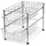 Stackable 2 Tier Sliding Basket Organizer Drawer, Chrome - Sliding basket for easy access in limited space and stackable design (Buy two sets and stack them together)