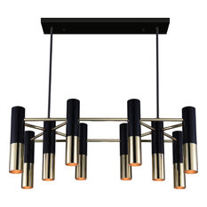 Anem 10 Light Down Chandelier, Matte Black, Satin Gold