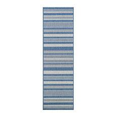 "Couristan Recife Gazebo Stripe Indoor/Outdoor Area Rug, Champagne-Blue, 2'3""x7'1"