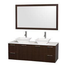 "Amare 60"" Espresso Double Sink Vanity With White Man-Made Stone Top, 58"" Mirror"