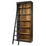 Four Hands Furniture - French Library Bookcase with Ladder - Our French Library Bookcase with Ladder is embellished with iron and brass details resemble the French libraries of the 1940's, provide smart and stylish organization for any room. Crafted from iron and recycled pine wood with matte black finish.