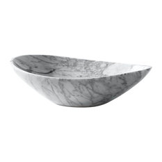 "Avanity 20"" Oval Stone Vessel, Carrara White Marble"