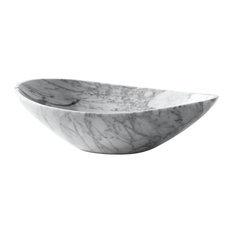 "Avanity 20"" Oval Stone Vessel, Carrara White Marble"