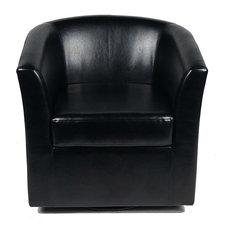 GDF Studio Corley Black Leather Swivel Club Chair