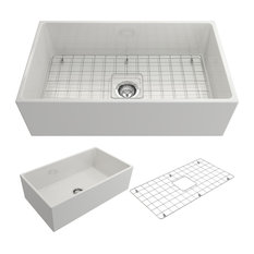 """Contempo Farmhouse Kitchen Sink With Grid and Strainer, 33"""", White"""