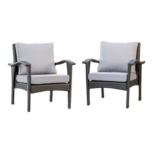 bleecker outdoor wicker club chairs with cushions set of 2 gray by