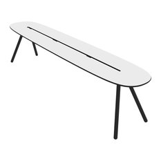 Large A-Lowha Bench, White, Black Frame