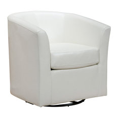 GDF Studio Corley Off-White Leather Swivel Club Chair