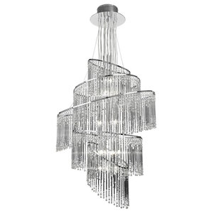 Camille Modern Chrome Chandelier With Glass Drops, 24 Lights