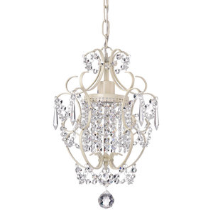 Amorette 1-Light White Finish Mini Chandelier With Crystals Glam Lighting